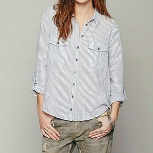 Free People | Party In The Back Striped Blouse